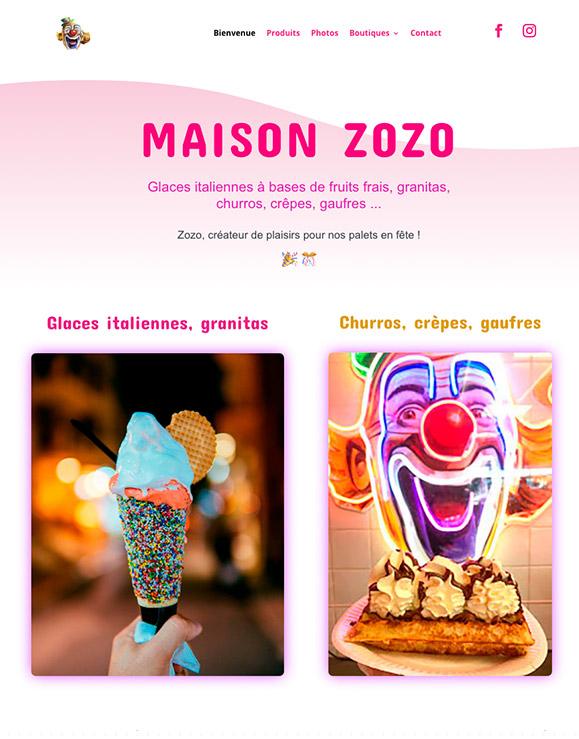 Image de la page d'accueil du site Internet MAISON ZOZO par Riviera-Creations.com